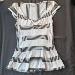 Anthropologie Striped Peplum Top